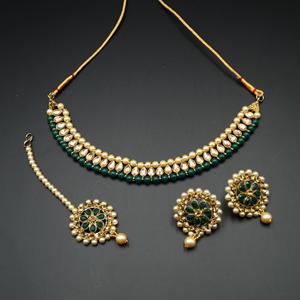 Bagya Gold Diamante/Green Necklace Set - Antique Gold
