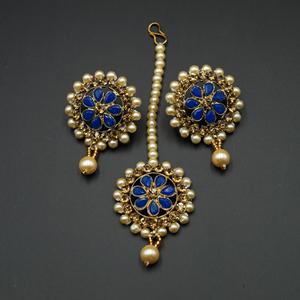 Bagya Gold Diamante/Royal Blue Necklace Set - Antique Gold