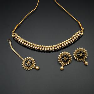 Bagya Gold Diamante/Black Necklace Set - Antique Gold