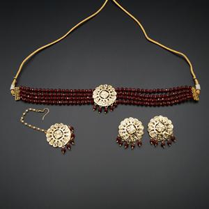 Jenil Marooo Beads Punjabi Necklace Set - Gold