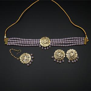 Jenil Baby Pink Beads Punjabi Necklace Set - Gold
