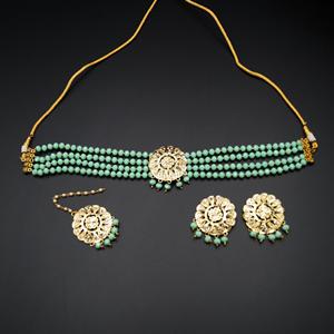 Jenil Pista Beads Punjabi Necklace Set - Gold