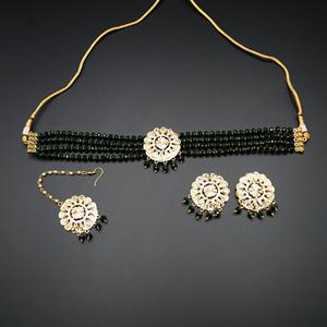 Jenil Green Beads Punjabi Necklace Set - Gold
