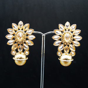 Yanti - Gold Polki Stone Earrings - Gold