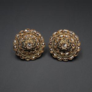 Tashi Gold Stone Earrings - Antique Gold