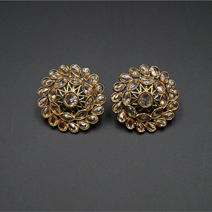 Palka Gold Stone Earrings - Antique Gold