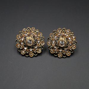 Githa Gold Stone Earrings - Antique Gold