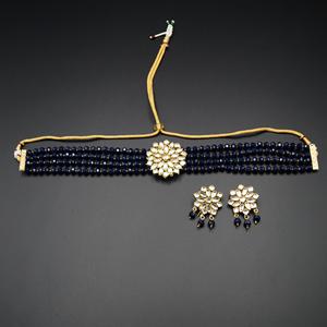 Reema- White Kundan/Blue Beads  Punjabi Necklace Set -Gold