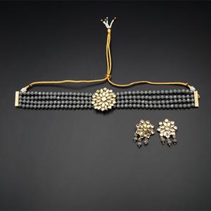 Reema- White Kundan/ Grey Beads  Punjabi Necklace Set -Gold