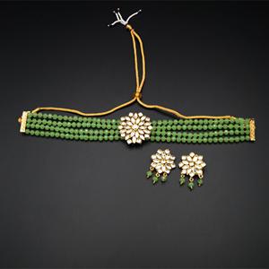 Reema- White Kundan/Mint Beads  Punjabi Necklace Set -Gold