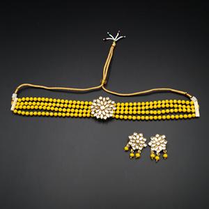 Reema- White Kundan/YellowBeads  Punjabi Necklace Set -Gold