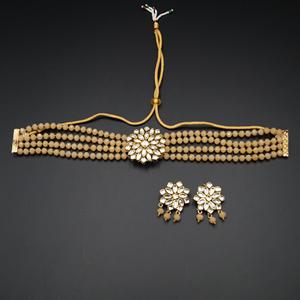 Reema- White Kundan/Peach  Beads  Punjabi Necklace Set -Gold
