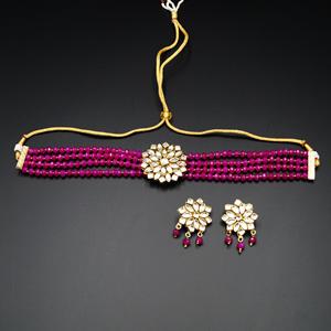Reema- White Kundan/Hot Pink Beads  Punjabi Necklace Set -Gold