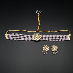 Reema- White Kundan/Baby Pink Beads  Punjabi Necklace Set -Gold