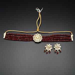 Reema- White Kundan/Maroon Beads  Punjabi Necklace Set -Gold