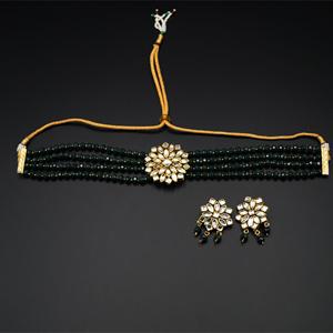 Reema- White Kundan/Green Beads  Punjabi Necklace Set -Gold