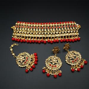 Jodh Red/Gold Stone Choker Necklace Set - Gold