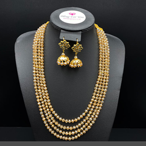 Abhi Gold Bead/ Kundan Long Mala Set - Gold