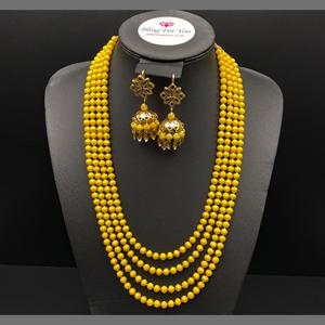 Abhi - Yellow Bead/ Kundan Mala Set - Gold