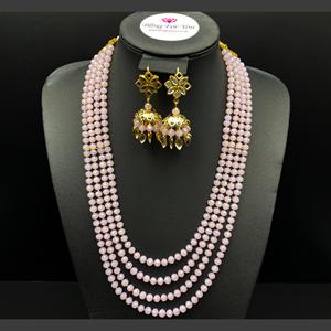 Abhi - Baby Pink Bead/ Kundan Mala Set - Gold