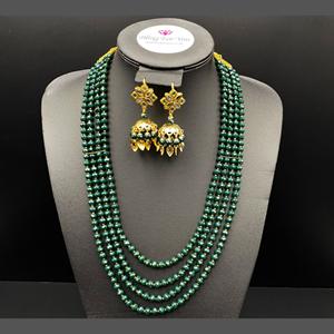 Abhi - Green Bead/ Kundan Mala Set - Gold