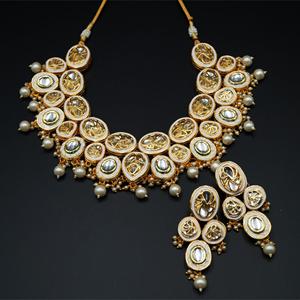 Aalok White Kundan Necklace Set - Gold