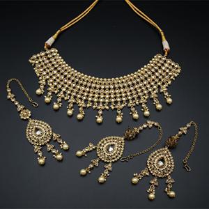 Ichita Gold Polki Stone/Pearl Choker Necklace Set - Antique Gold