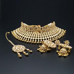 Jain Gold Polki Stone/Gold Beads Choker Necklace Set - Antique Gold