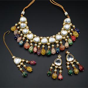 Kalina White Kundan/Multicolour Beads Necklace Set - Gold