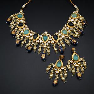 Jada White Kundan/Blue Multicolour Beads Necklace Set - Gold