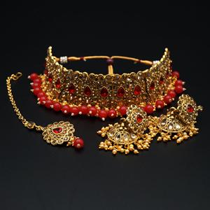 Ulka - Gold Diamante & Red Choker Necklace Set - Gold