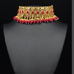 Ulka - Gold Diamante & Pink Choker Necklace Set - Gold