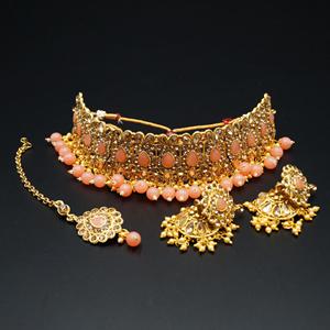 Ulka - Gold Diamante & Peach Choker Necklace Set - Gold