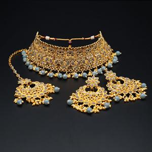 Jagya - Gold Diamante & Grey Choker Necklace Set - Gold