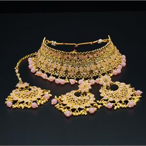 Jagya - Gold Diamante & Baby Pink Choker Necklace Set - Gold