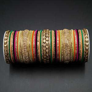 Nadra Gold Polki Stone/Multicolour Bangle Set -Antique Gold