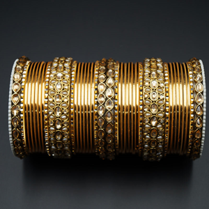 Pasha Gold Polki Stone Bangle Set - Antique Gold
