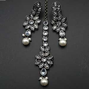 Jekha - White Polki Gun Metal Necklace Set - Grey
