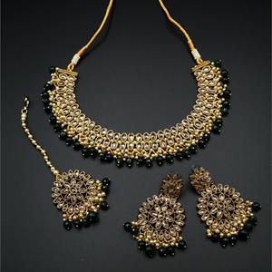 Fulki Gold Polki & Green Beads Necklace Set - Antique Gold