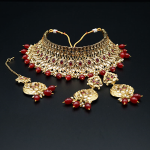Mahak- Gold Polki/Maroon Stone Choker Necklace Set - Antique Gold