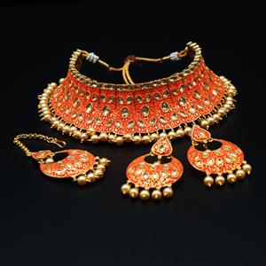 Gangi - Gold Polki Stone/Orange Choker Set - Antique Gold