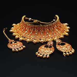 Gangi - Gold Polki Stone/Dark Red Choker Set - Antique Gold