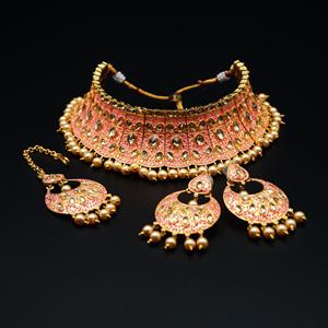 Gangi - Gold Polki Stone/Baby Pink Choker Set - Antique Gold
