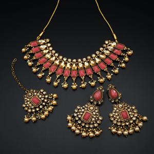 Varya - Gold Polki/Coral Necklace Set- AntiqueGold