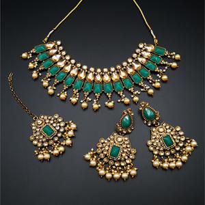Varya - Gold Polki/Green Necklace Set- AntiqueGold