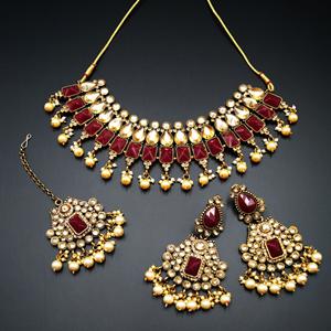 Varya - Gold Polki/Maroon Necklace Set- Antique Gold