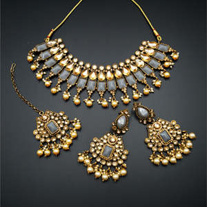 Varya - Gold Polki/Grey Necklace Set- Antique Gold