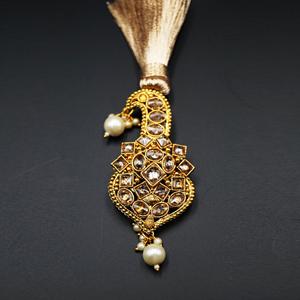 Vaj Gold Polki Stone Kalgi - Gold