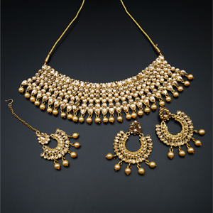 Vana Gold Faux Polki & Pearl Necklace Set - Antique Gold