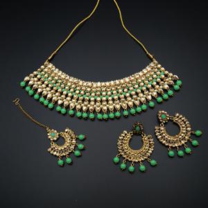 Vana Gold Faux Polki & Pista Bead Necklace Set - Antique Gold